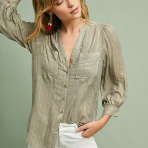 Anthropologie Gray and Gold Button Down Shirt
